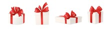 Cartoon Gift Boxes With Red Bows Isolated On White Background, Vector Illustration.
