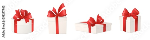 Obraz Cartoon gift boxes with red bows isolated on white background, vector illustration. - fototapety do salonu