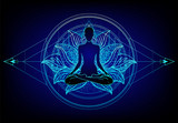 Chakra concept. Inner love, light and peace. Buddha silhouette in lotus position over colorful ornate mandala. Vector illustration isolated. Buddhism esoteric motifs.