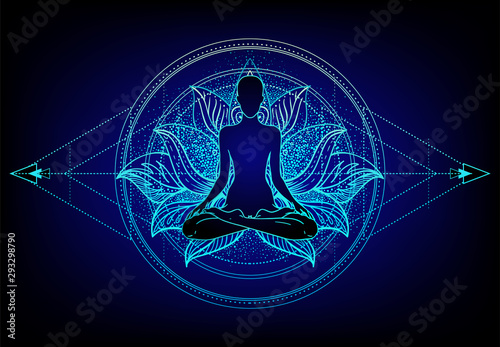 Obraz Chakra concept. Inner love, light and peace. Buddha silhouette in lotus position over colorful ornate mandala. Vector illustration isolated. Buddhism esoteric motifs. - fototapety do salonu