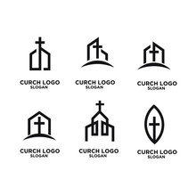 Set Church Minimal Logo Icon D...