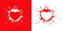 Logotipo Con Corazón En Salpicadura En Rojo Y Blanco
