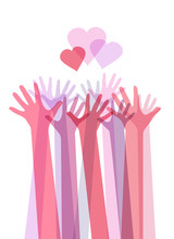 Vertical Illustration Of Color Transparent Human Hands With Hearts. International Day Of Friendship And Kindness. The Unity Of People. Vector Element For Card, Invitation, Template And Your Creativity