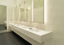 Row Of White Modern Marble Cer...