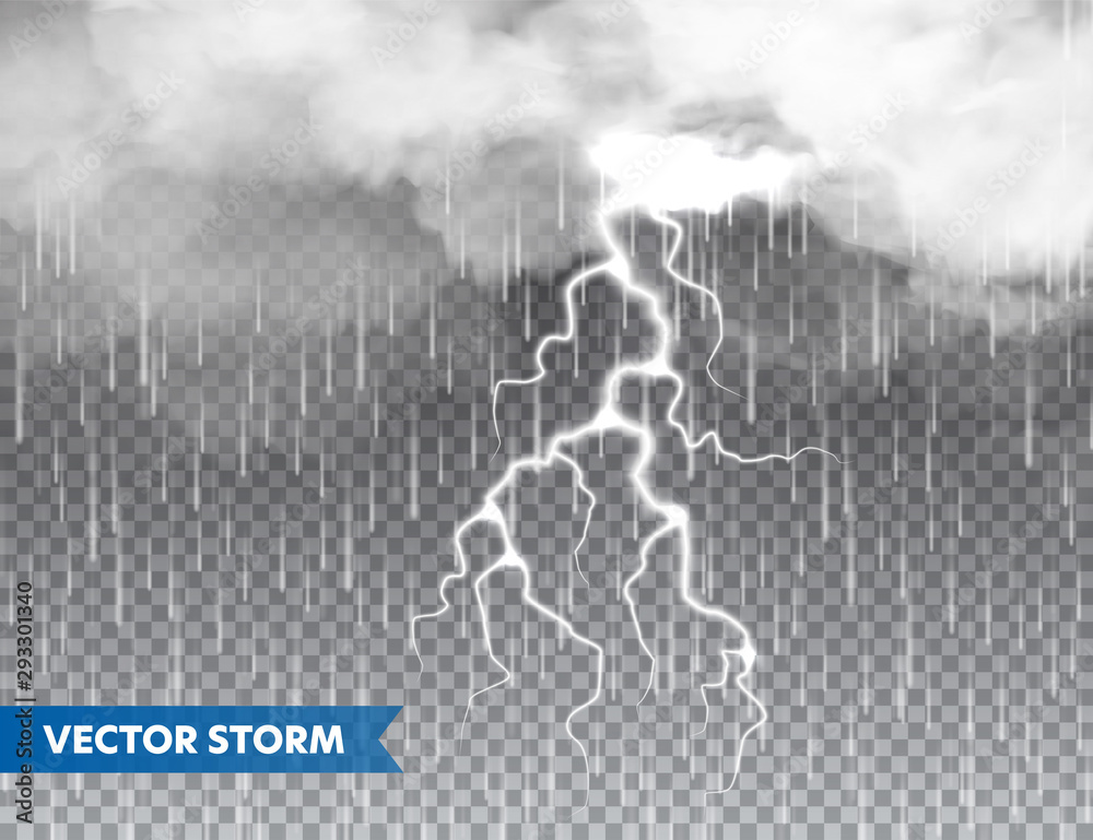 Fototapety, obrazy: Realistic rain with clouds and lightning on transparent background. Thunderstorm, stormy weather effect. Rainfall, water drops effect. Autumn wet rainy day. Vector illustration.