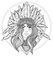 Tribal Fusion Boho Diva. Black And White Illustration Of Native American Indian Girl In Traditional Feather Headdress Bonnet.