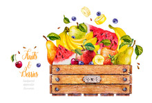 Watercolor Wooden Box With Fruit And Berries. Watercolor Botanical Illustration. Food Collection. Apple, Watermelon, Cherry, Banana, Pear, Blueberry, Strawberry