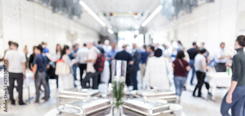 Blured image of businesspeople at coffee break at conference meeting. Business and entrepreneurship. - 293304930