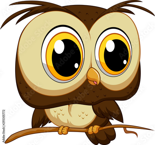 Tuinposter Uilen cartoon Cute owl cartoon on a tree branch illustration