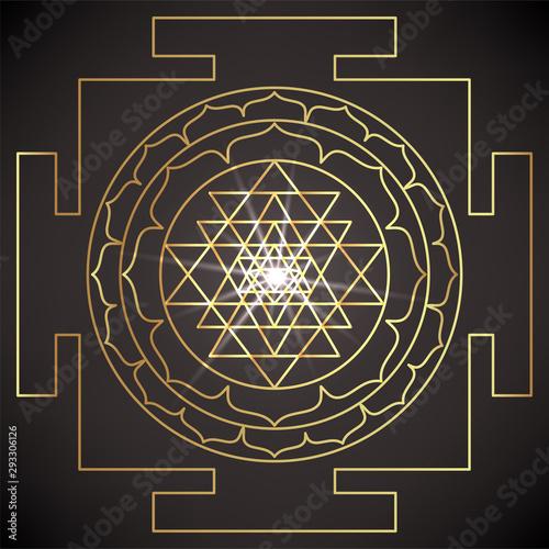 The Sri Yantra or Sri Chakra, form of mystical diagram, Shri Vidya school of Hindu tantra symbol Canvas Print