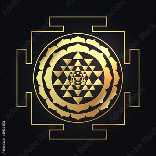 Fotografiet  The Sri Yantra or Sri Chakra, form of mystical diagram, Shri Vidya school of Hindu tantra symbol