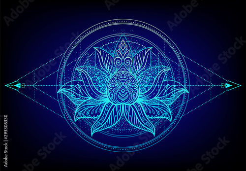 Foto auf Leinwand Boho-Stil Vector ornamental Lotus flower, ethnic art, patterned Indian paisley. Hand drawn illustration. Invitation element. Tattoo, astrology, alchemy, boho and magic symbol.