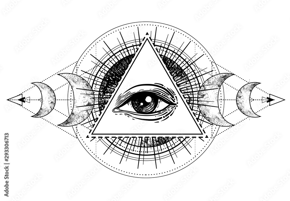 Fototapeta Eye of Providence. Masonic symbol. All seeing eye inside triple moon pagan Wicca moon goddess symbol. Vector illustration. Tattoo, astrology, alchemy, boho and magic symbol.