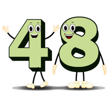 Number Forty Eight - Cartoon Vector Image