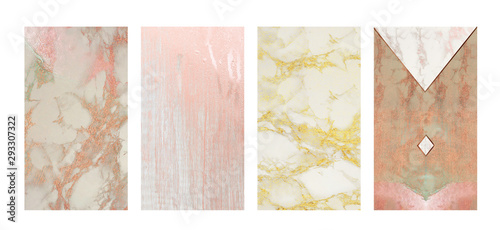 Obraz na plátne Elegant instagram stories feminine background set: white marble and grey wood textures with pink rosegold and golden glitter metallic foil effect