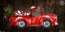 Merry Christmas Design Card With Santa Claus Driving Red Car On Snowy Hills.