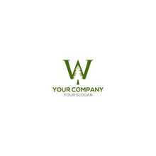 W Pine Logo Design Vector