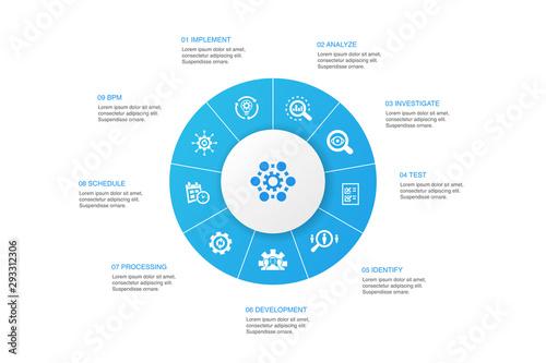 Foto Business process Infographic 10 steps circle design