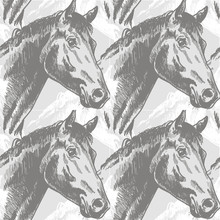 Seamless Pattern With Horses In Vintage Style . Realistic Drawing By Hand.