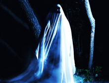Ghost At Night Outdoors. Blue ...