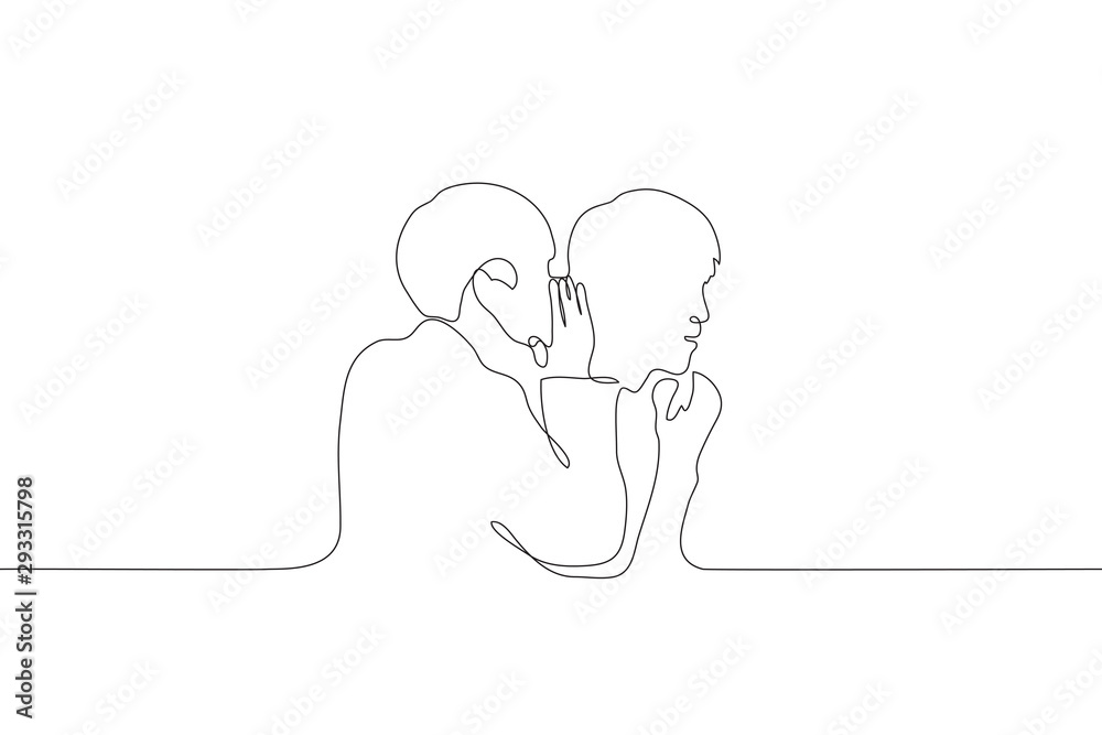 Fototapeta A continuous line art silhouette of two men, one of whom whispers in the ear of the other. Share a secret with a friend. Gossips. Can be used for animation. Vector