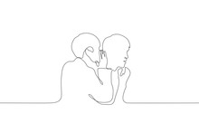 A Continuous Line Art Silhouette Of Two Men, One Of Whom Whispers In The Ear Of The Other. Share A Secret With A Friend. Gossips. Can Be Used For Animation. Vector