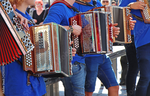 Obraz na plátne Group of young accordion players