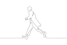 Continuous Line Art Full Length Silhouette Of A Man In A Hurry Somewhere. Profile Of A Young Man Wearing A Long Coat And Walking In Wide Strides. It Can Be Used For Animation. Vector