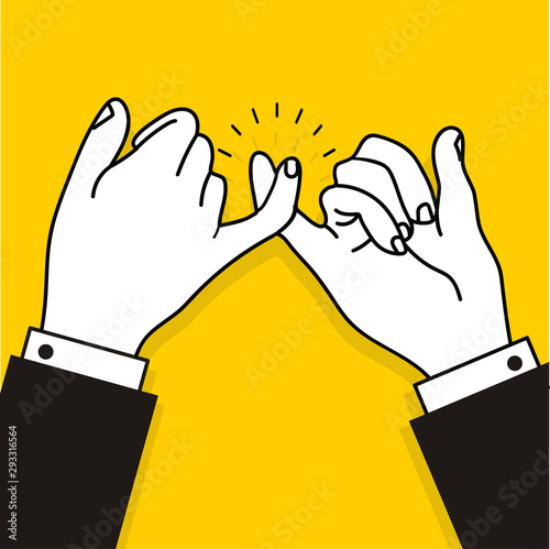 business promise hands gesturing on yellow background Canvas Print