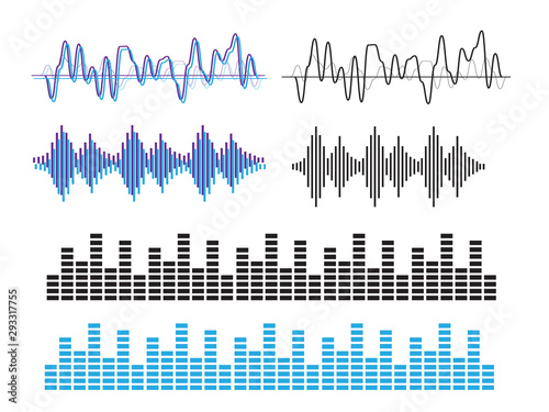 Sound waves vector. Sound waves sign and symbol in flat style Canvas Print