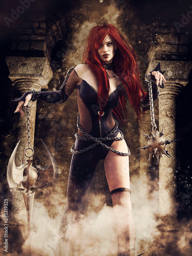 Fantasy female warrior holding large and sharp weapons in her hands, standing in a dungeon Fototapete