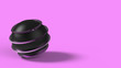 Leinwanddruck Bild - Black and violet pink ball with line stripes in space. isolated on pink background. Abstract, futuristic image of contrast of black and white. 3D rendering, illustration. HD. jewel, object.
