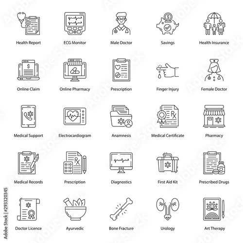 Pack Of Medical Line Icons Canvas-taulu