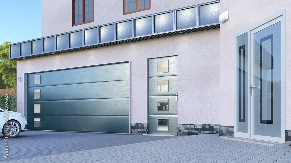 Fototapeta Garage entrance with sectional doors. 3d illustration