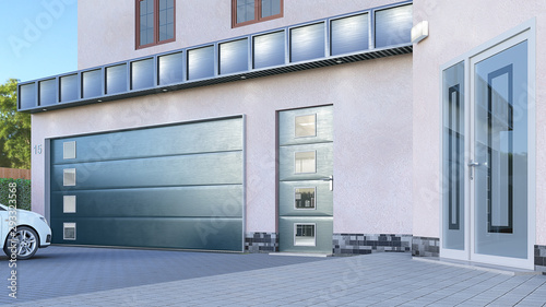 Cuadros en Lienzo Garage entrance with sectional doors. 3d illustration