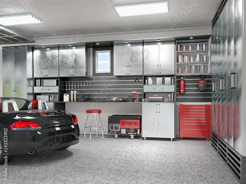 Obraz na plátně Modern garage interior. 3d illustration