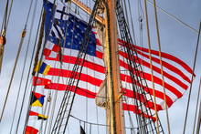 American Flag On Mast Of Ship