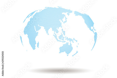 Fotografia, Obraz World Map 3d Design with Blue Dot shape On white Background , Present many conti