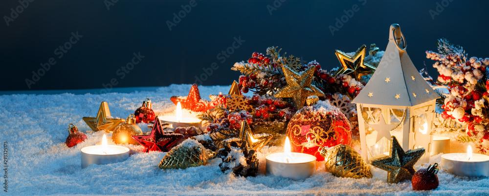 Fototapeta Lantern and christmas decoration