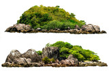 The trees on the island and rocks. Isolated on White background