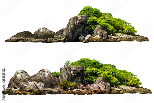 Obraz The trees on the island and rocks. Isolated on White background - fototapety do salonu