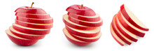 Red Apple Isolated. Sliced Apple On White. With Clipping Path