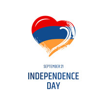 Armenian National Holiday. September 11 - Independence Day. Text, Hand-drawn Heart And Symbol Of Country - Flag Isolated On White Background.