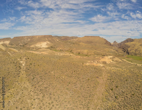 Sensational aerial  picturesque images of the John Day Fossil Beds Overlook and valley of Grant County in Dayville, Oregon