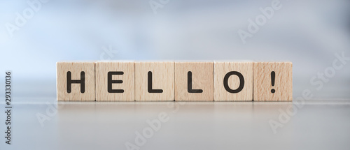 Fototapeta Word hello on cubes