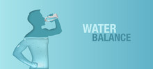 Blue Vector Banner About Aqua Balance In Human Body. Silhouette Of Man Is Drinking Water.