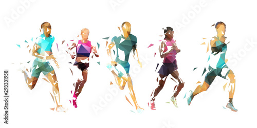 Run, group of running people, low poly vector illustration. Geometric runners