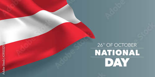Stampa su Tela Austria happy national day greeting card, banner with template text vector illus