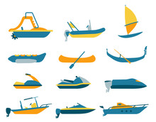 Set Of Different Types Of Boat...