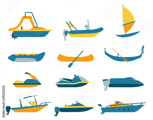 Set of different types of boat and watercraft Wallpaper Mural